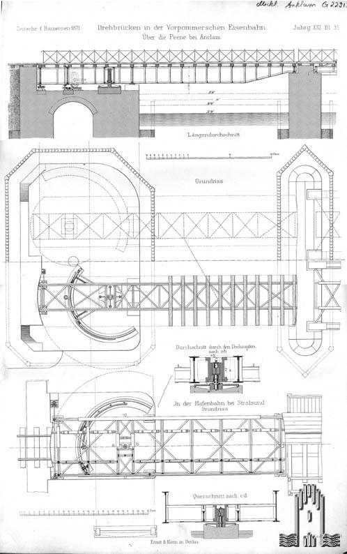 Stahlstich Eisenbahnbrücke über die Peene