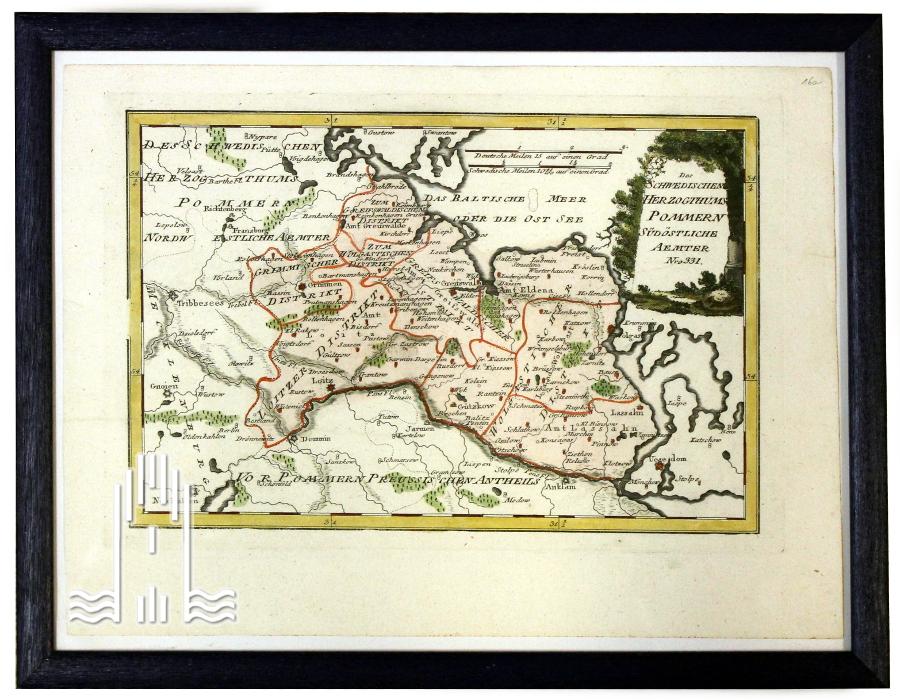 Landkarte des Schwedischen Herzogtums Pommern