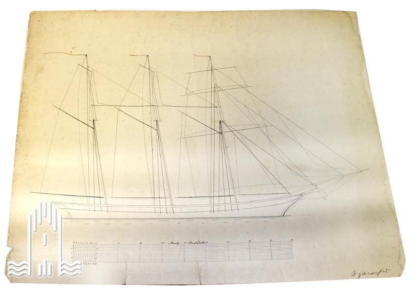 Zeichnung eines 3 Mast- Schoners von Gildemeister