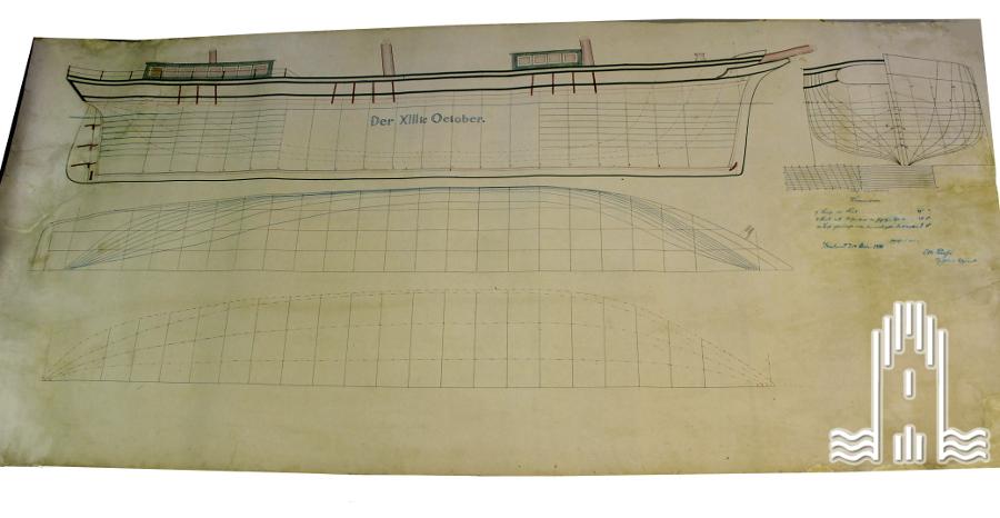 """Planzeichnung eines Schiffes """"XIII Oktober"""""""