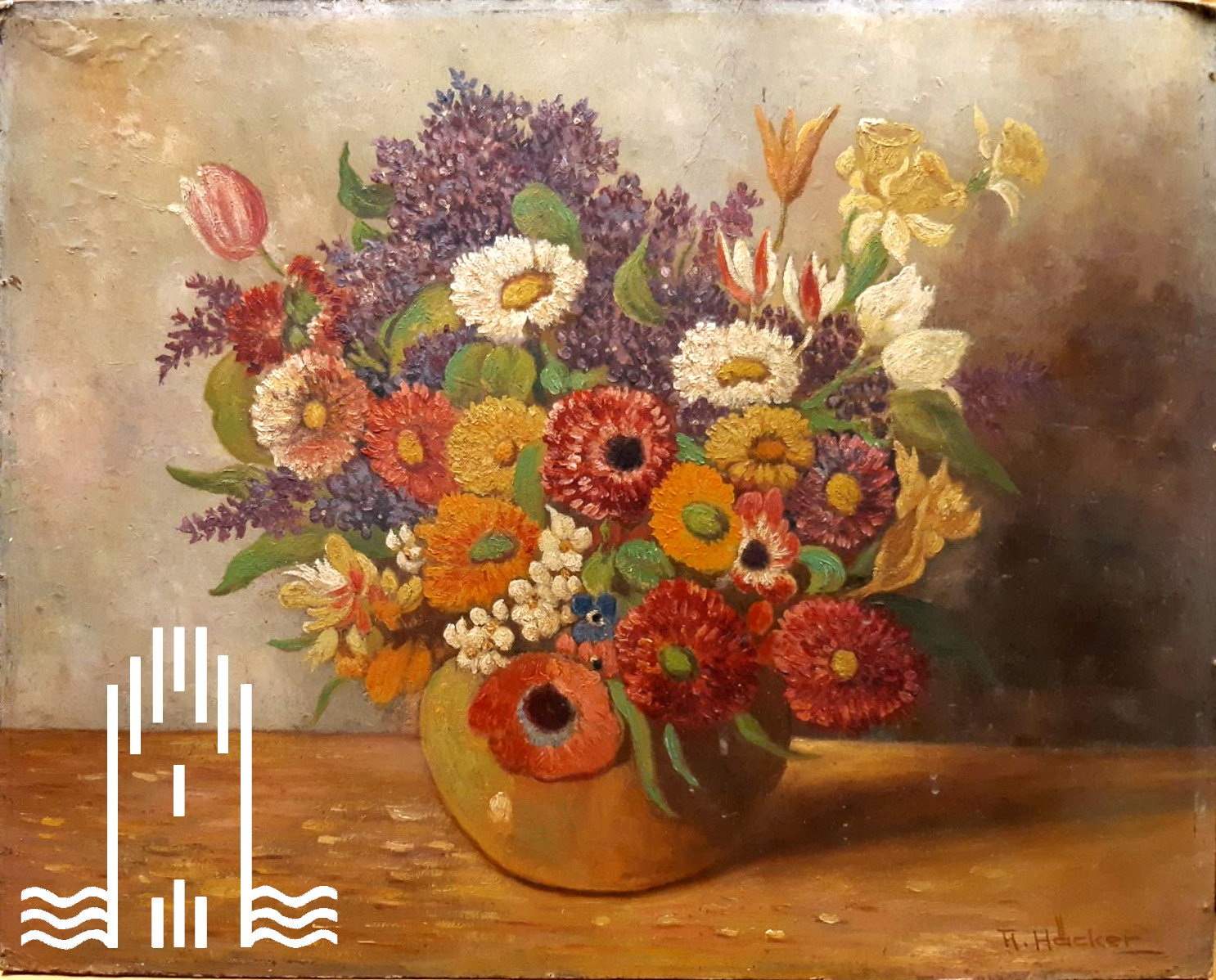 H. Häcker - Vase mit Blumen