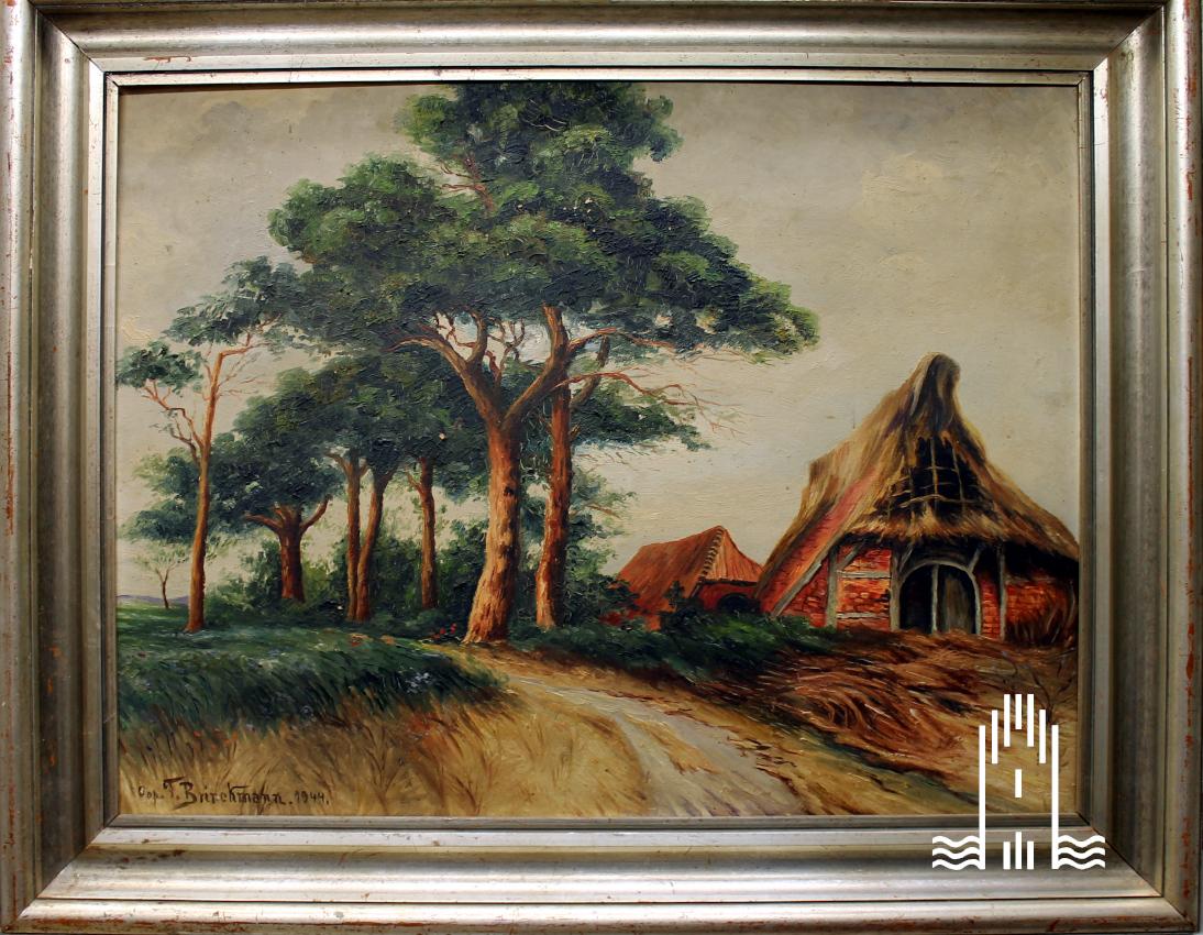 Dünenlandschaft mit Bauernhaus und Kiefern