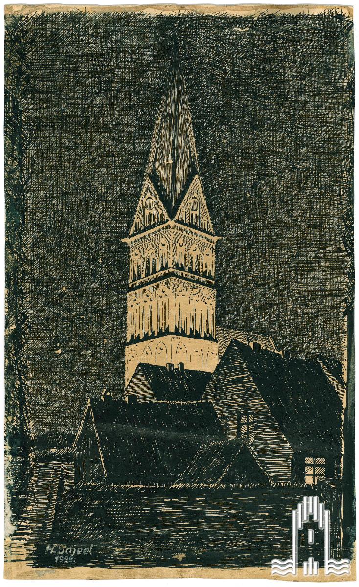 Hermann Scheel - Marienkirche bei Nacht