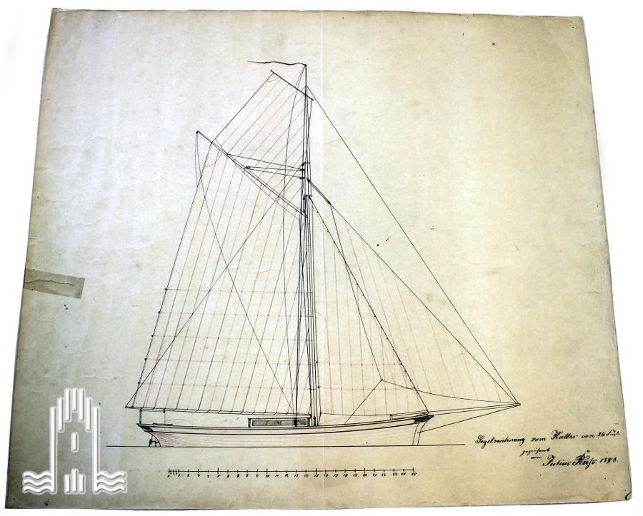 Segelzeichnung zum Kutter von 26 Fuß, 1873