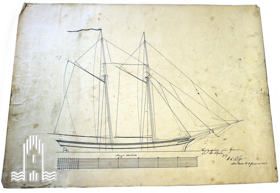 Segelzeichnung zum Schoner von 30 Lasten, 1883