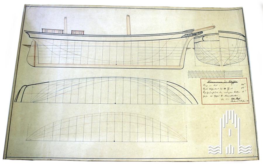 Zeichnung der Dimensionen eines Schiffes, 1879