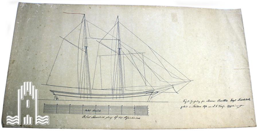 Segelzeichnung für Schoner Bertha, 1876
