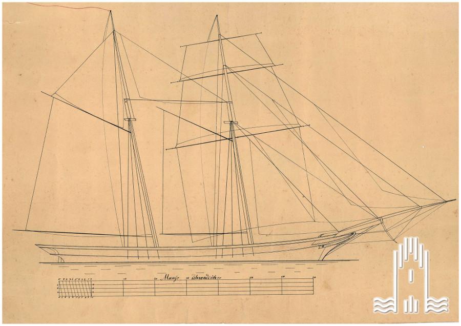 Segelzeichnung eines 2 Mast- Schiffes