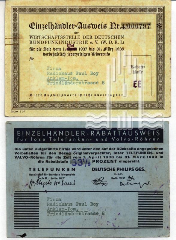 Einzelhändler- Rabattausweis der Firma Radiohaus Paul Boy