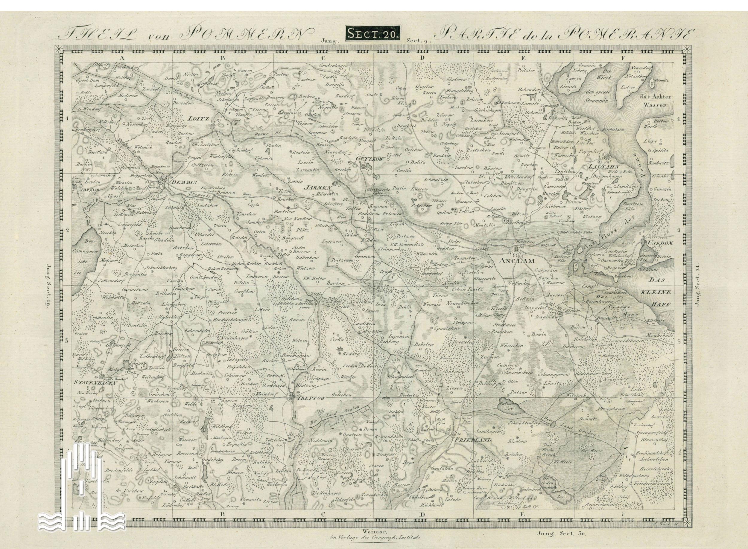 Landkarte von Anklam und Umgebung 1820