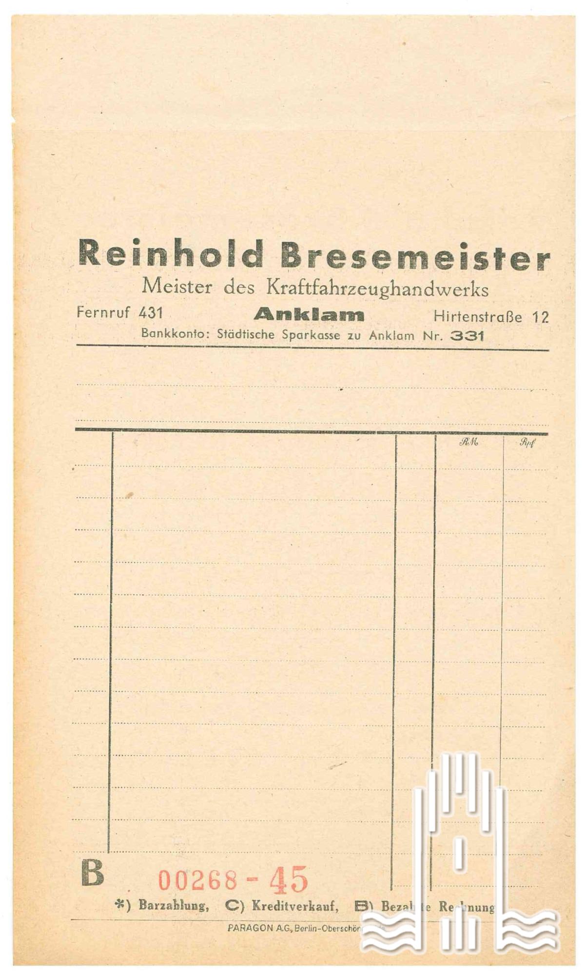 Beleg von Reinhold Bresemeister, Meister des Kraftfahrzeughandwerks Anklam