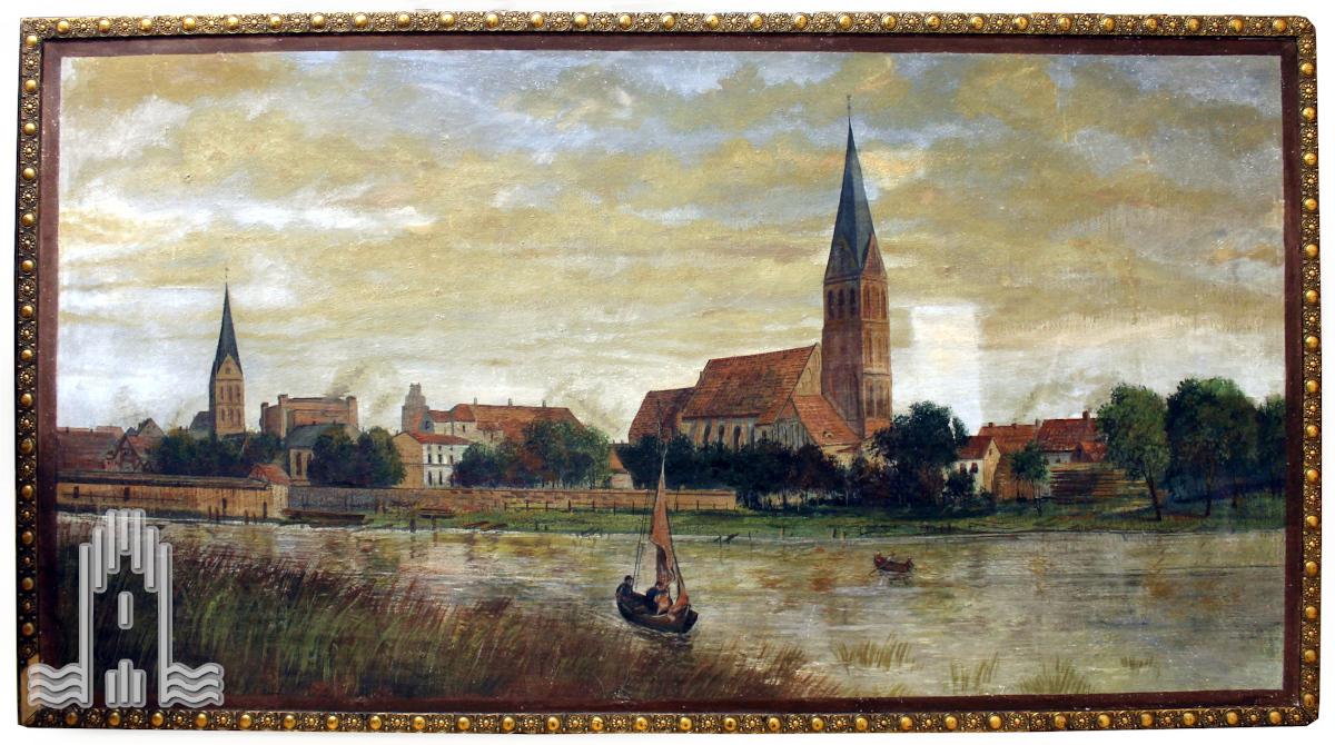 Erich Aey - Anklamer Stadtansicht mit Kirchen und Synagog