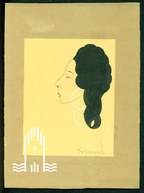 K.A. Lattner - Porträtzeichnung einer Frau