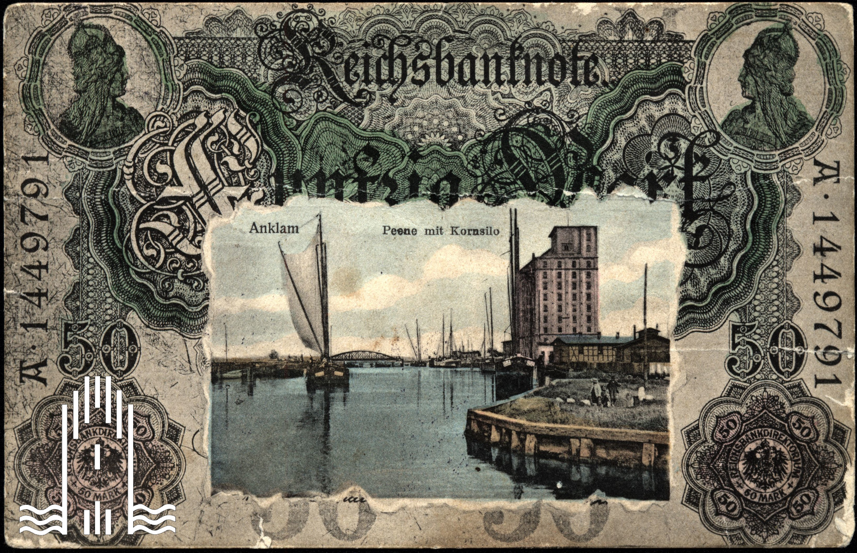 Postkarte mit Anklamer Hafen