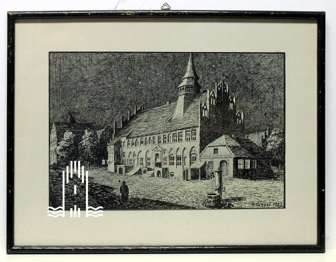 Hermann Scheel - Altes Rathaus auf dem Markt bei Nacht