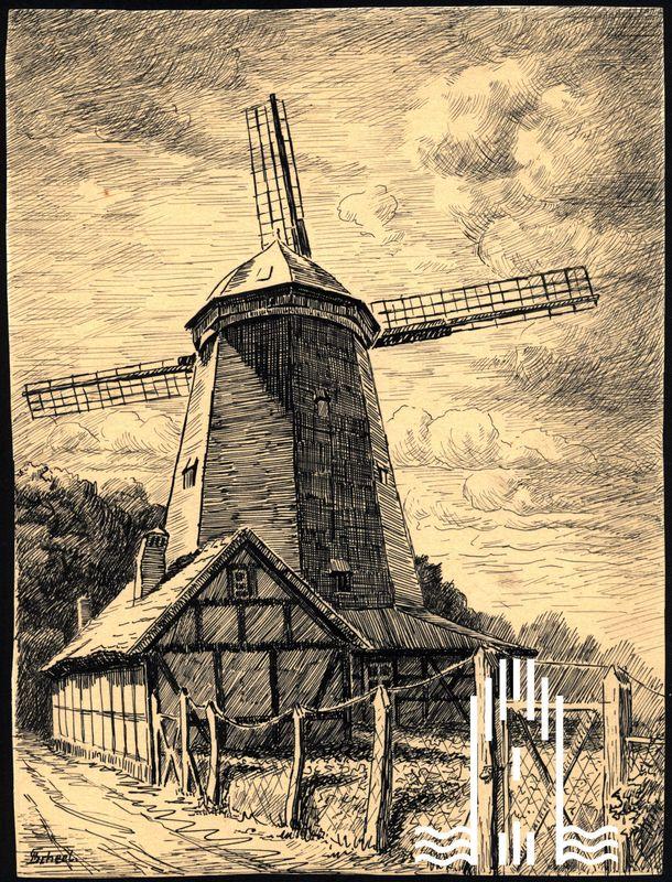 Federzeichnung von Scheel: Alte Mühle in Anklam